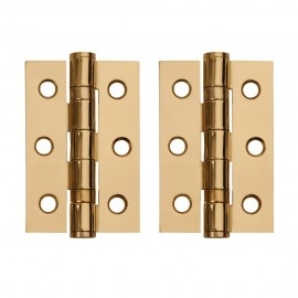A Pair of Polished Brass Ball Bearing Hinges. 3 Inch.