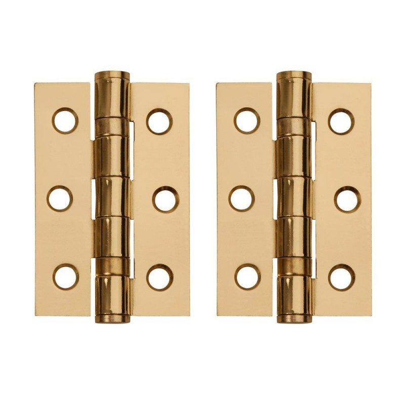 Polished Brass Ball Bearing Hinges. 3 Inch.
