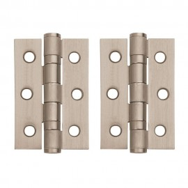 A Pair of Satin Chrome Ball Bearing Hinges. 3 inch.