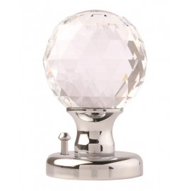 Glass Ball Mortice Knob. Facetted Clear Glass 55mm.