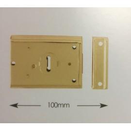 Rim Lock 100mm Polished Brass or Grey