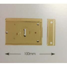 Rim Lock 100mm Polished Brass or Grey