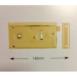 Rim Lock 140mm Polished Brass or Grey