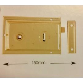Rim Lock 150mm x 100mm Polished Brass or Grey