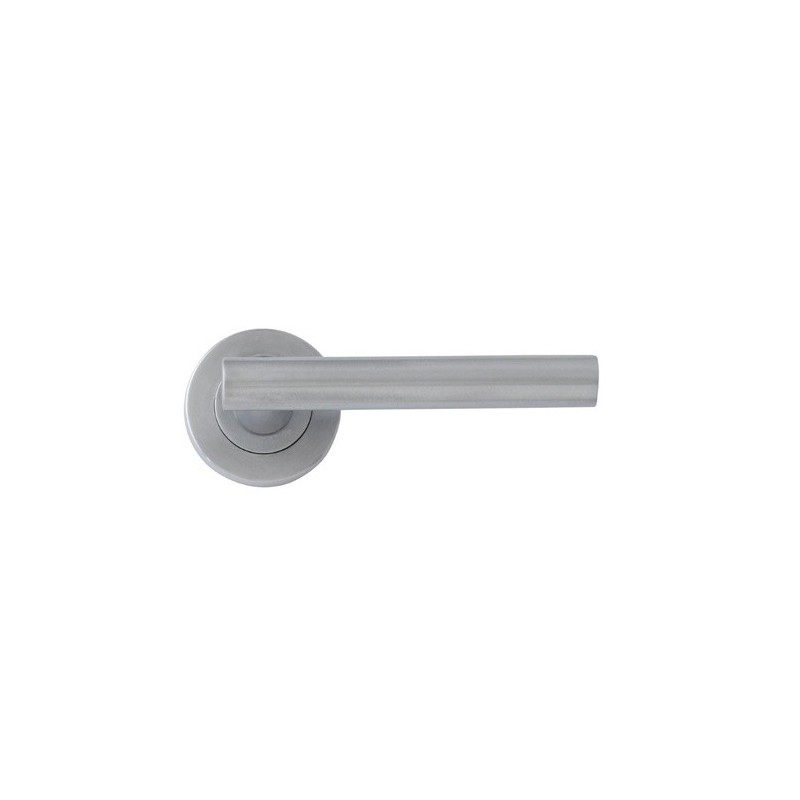 Lynx designer lever door handles on round rose satin chrome