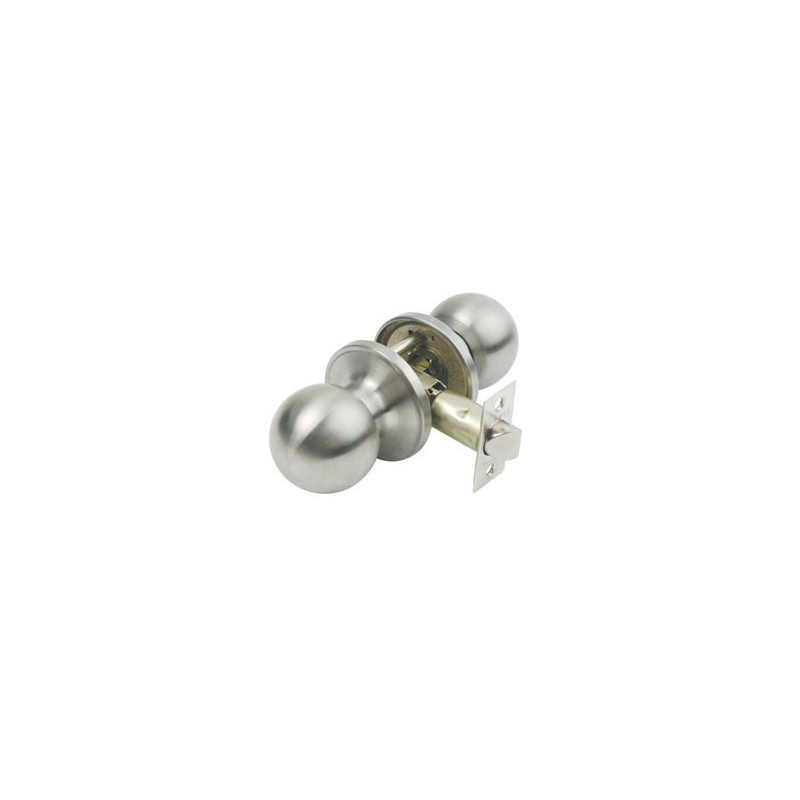 Bala door knobset in satin stainless steel. Chrome