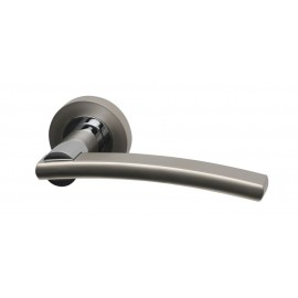 Opal dual finish lever door handles on round rose