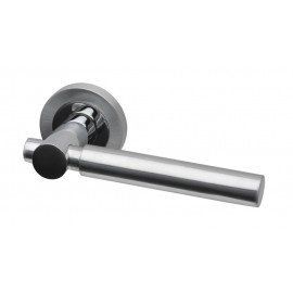 Laser dual finish lever door handles on round rose