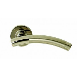 Dual finish T bar lever door handles on round rose