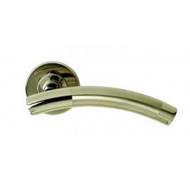 Dual finish T bar lever door handles on round rose