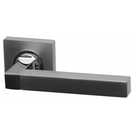 Quad Dual Finish Designer Lever Door Handles on Square Rose