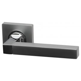 Quad Dual Finish Designer Lever Door Handles on Square Rose