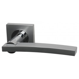 Si Dual Finish Designer Lever Door Handles on Square Rose