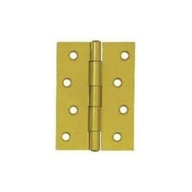 A Pair of Electro Brass Stainless Steel Hinges - Fixed Pin Butt Hinges. 100mm.