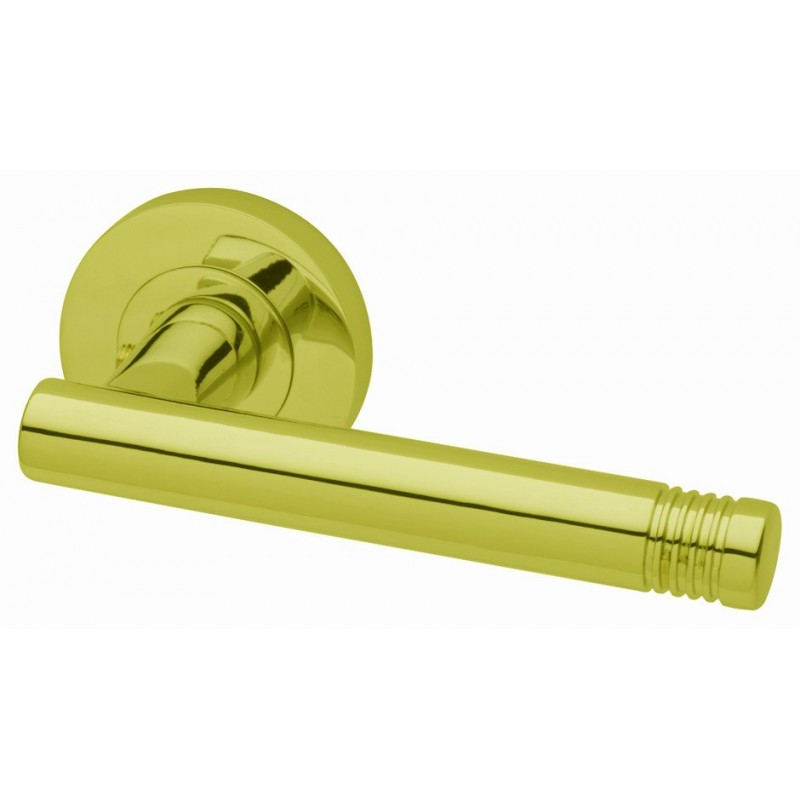 Strata Door Handles on 51mm Round Rose (PB)