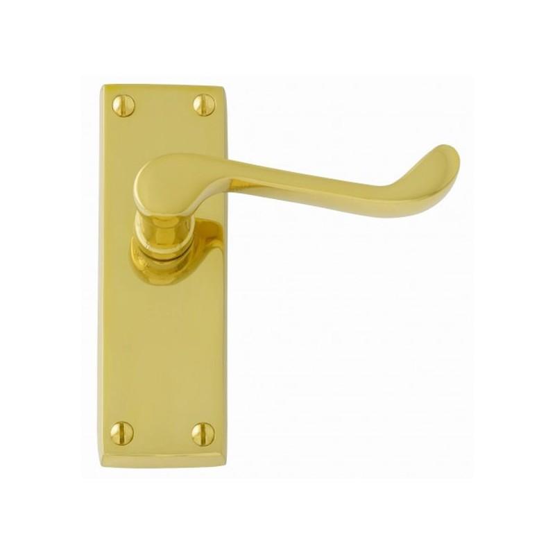 Polished Brass Door Handles Victorian Scroll Internal